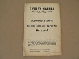 Tractor Manure Spreader No 200 f Owner Manual Parts List Mccormick Deering 1941