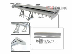 Rtunes Racing Gt Type V Silver Adjustable Aluminum Spoiler Wing Hy
