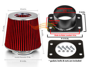 Red Cone Filter Air Intake Maf Adapter Kit For Lexus 92 95 Gs300 Sc300 3 0l