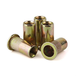 Flat Head Threaded Rivets Zinc Plated Steel Rivet Nut Rivnut Nutsert 1 2 13