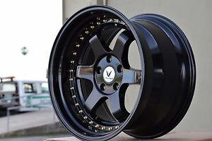 18x10 5 20 Gloss Black Te37 5x114 3 Wheels Fit Staggered Stance Nissan Acura