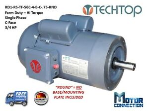 3 4 Hp Electric Motor Farm Duty 1800 rpm Single Phase 56c C face Round