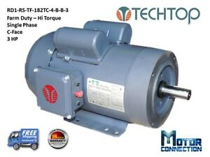 3 Hp Electric Motor Farm Duty 1800 rpm Single Phase 182tc C face