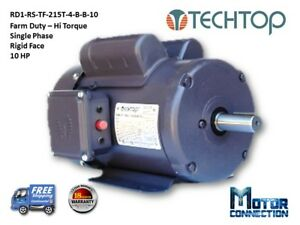 10 Hp Electric Motor Farm Duty 1800 rpm Single Phase 215t Rigid face