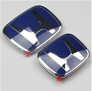 2pcs Jdm Honda Front Rear Blue H Emblem 2006 2011 Civic Sedan