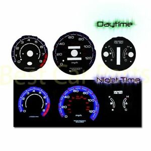 Black Indiglo El Gauges Kit Glow Blue Reverse For 96 00 Civic At W Tach Rpm
