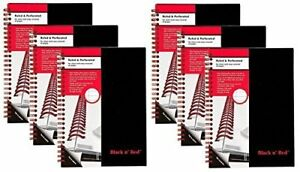 Case Of 6 Black N Red Twin Business Notebook Hardcover Wired 8 1 4 X 5 7 8 70