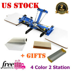 Usa Stock 4 Color 2 Station Silk Screen Printing Press For Diy T shirt Printing