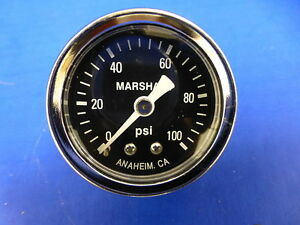 Marshall Gauge 0 100 Psi Fuel Pressure Oil Pressure Gauge Black 1 5 Diameter