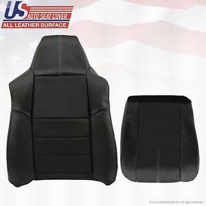 2008 To 2010 Ford F250 F350 Lariat Driver Bottom top Leather Seat Covers Black