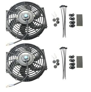 2x 10 Inch Universal Slim Fan Push Pull Electric Radiator Cooling 12v Mount Kit