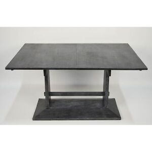 Antique Amsterdam School Black Arts Crafts Ebonized Cerused Dinning Room Table