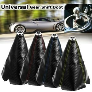 Carbon Leather Gear Manual Shift Knob Shifter Boot Cover Gaiter Universal Car