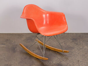 Charles And Ray Eames Orange Armchair On Rocker Base For Herman Miller