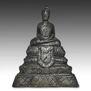 Antique Seated Buddha Clay Silver Burma Laos Thailand S E Asia Buddhism 19th C