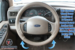 2000 2004 Ford Excursion tan Leather Steering Wheel Cover W needle
