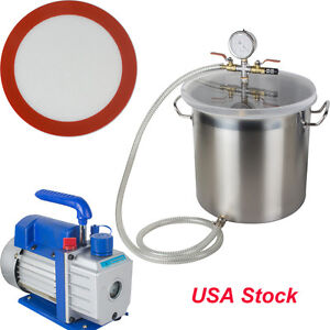 New Usa 5 Gallons Stainless Steel Vacuum Bucket Vacuum Pump Degassing Chamber