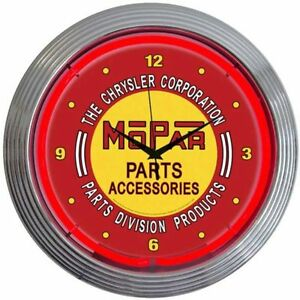 Neonetics 8mpred Mopar Red Vintage Neon Clock 15 Diameter New Man Cave