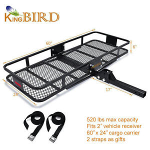 520lbs Max Capacity 60x24 Folding Cargo Carrier Luggage Rack Basket Suv 2 Hitch