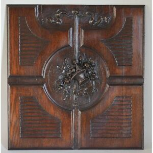Antique French Louis Xvi Style Carved Oak Architectural Salvaged Panel