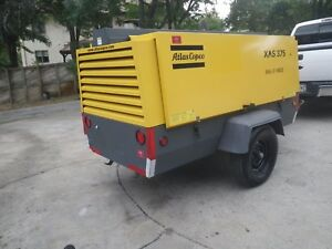 Atlas Copco Xas 375 Tow Behind Air Compressor John Deere 4045h Turbo Diesel