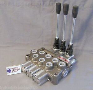 Hydraulic Directional Control Valve 3 Spool Tandem Center Detented 12 Gpm