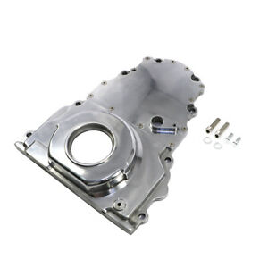Polished Aluminum 2 Piece Ls Engine Timing Chain Cover Chevy Gm Cam Sensor Hole