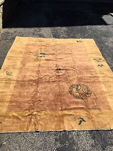 Antique Oriental Rug Chinese 7x9 Gold Art Deco Handmade Wool