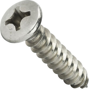 14 X 1 Self Tapping Sheet Metal Screws Oval Head Stainless Steel Qty 2500