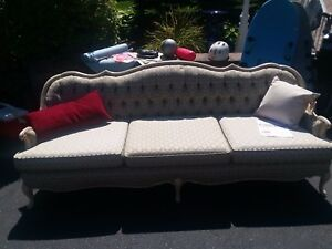 French Provincial Sofa Settee Cain Back Tufted Floral Upholstery