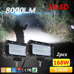 2x 5inch 168w Flood Led Car Off Road Work Light Bar Fog Driving Drl Lamp 12v 24v