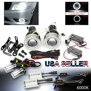 Jdm 3 White Ccfl Halo Projector Fog Lights switch 6000k 55w Hid For Nissan Cars