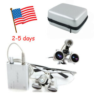 Dental Surgical Medical Binocular Loupes 3 5x420mm Loupe Head Light Case F Study
