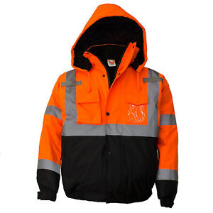 Class 3 Hi Viz Reflective Insulated Waterproof Winter Safety Jacket wj9011 12