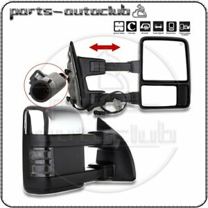 Chrome L R For 99 07 Ford F250 F350 F450 F550 Power Heat Signal Tow Side Mirrors