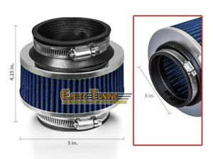 3 Inlet 76mm Cold Air Intake Universal Bypass Valve Filter Blue For Ram