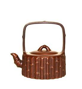 Vintage Chinese Yixing Zisha Purple Clay Wicker Form Tall Handle Ceramic Teapot