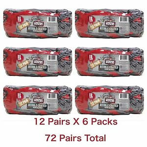 Lot 72 Pairs Grease Monkey Nitrile Dipped Work Gloves Black Red Big L Large 12