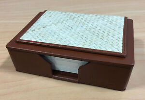 Stitched Wicker topped Leather Hemingway Executive Desk Notepad Holder Crystal