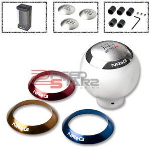Nrg Manual 5 Speed Gear Shift Knob 4 Colors Rings For Honda Nissan White