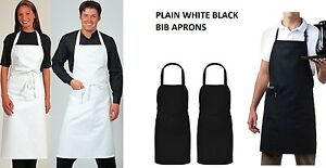 Black White Halter Neck Apron Waiter Baker Chefs Full Bib Apron Kitchen Pocket