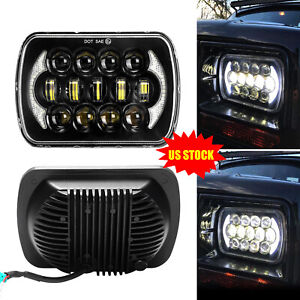 5x7 7x6 Led Headlight Hid Light Bulb Drl Hi lo Beam For Jeep Xj Yj Black 85w