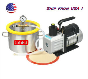 2 Gallon Stainless Steel Vacuum Degassing Chamber Kit 3cfm Vacuum Pump Us Only