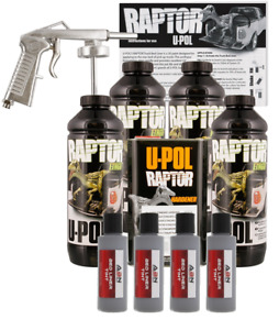 U Pol Raptor Tintable Mesa Gray Bed Liner Kit W Spray Gun 4l Upol
