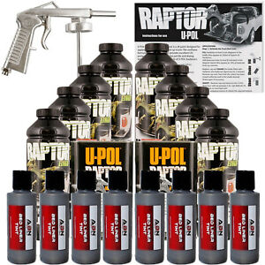 U Pol Raptor Tintable Pewter Metallic Bed Liner Kit W Spray Gun 8l Upol