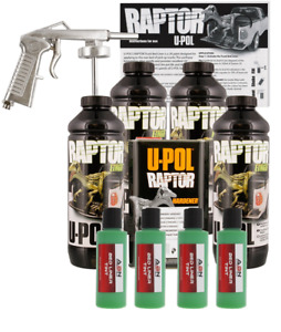 U pol Raptor Emerald Green Bedliner Kit W Spray Gun 4l Upol