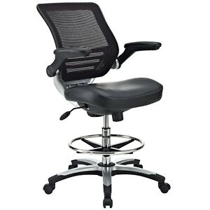 Modway Edge Drafting Chair In Black Vinyl Reception Desk Chair Tall Offic