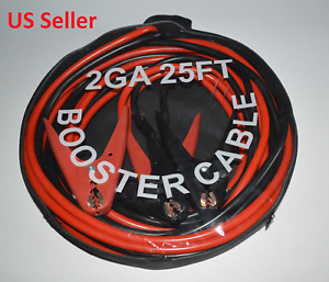 Premium 25 Ft 2 Gauge Heavy Duty Booster Jumper Cable Emergency Power Start New