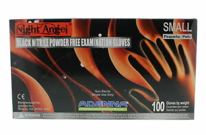 Adenna Ngl222 Night Angel Black Nitrile Exam Gloves Small 1 Case 10 Boxes