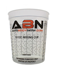 Abn Clear Plastic Paint Mixing Cup 32oz Ounce 946ml Milliliter
